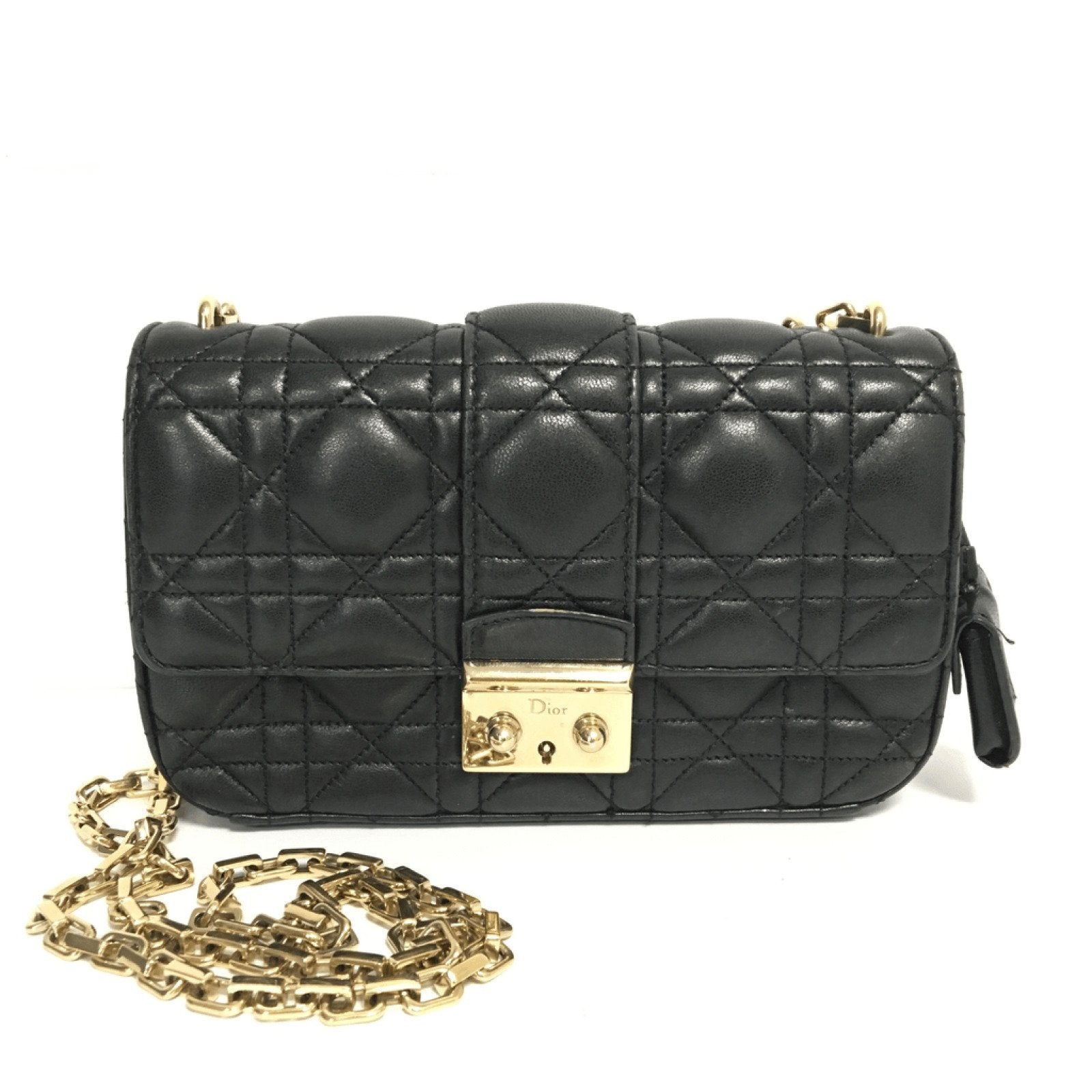 70a2144fe22 Dior Black Cannage Quilted Lambskin Small MIss Dior - Oliver Jewellery