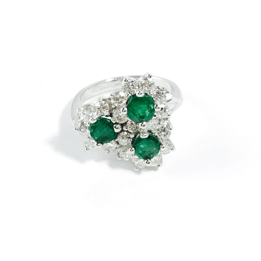 Emerald and Diamond Cocktail Ring Rings Miscellaneous