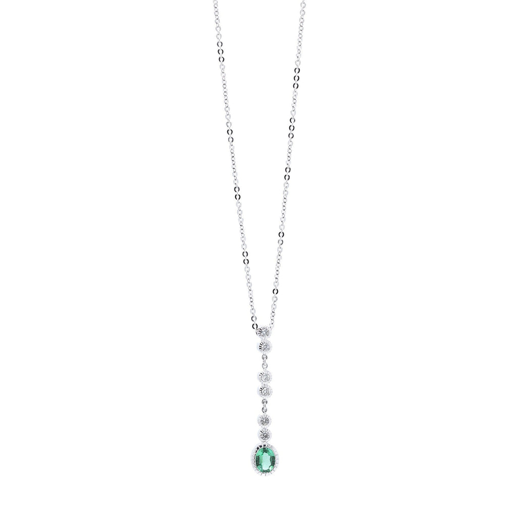 Emerald and Diamond Drop Pendant Necklace Necklaces Miscellaneous