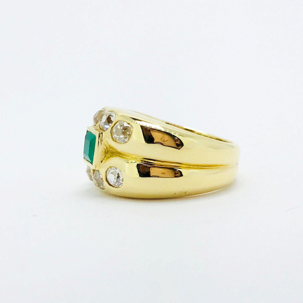 Emerald And Diamond Ring In 18Kt Yellow Gold - Rings