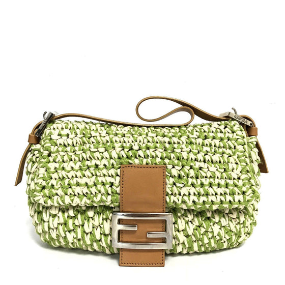Fendi Green Straw Baguette Bag Bags Fendi