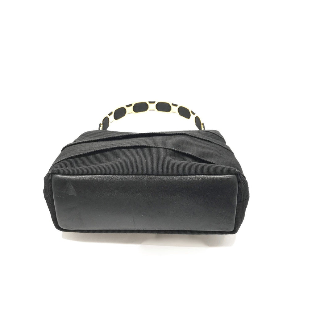 Ferragamo Black Tiered Grosgrain Handle Bag Bags Ferragamo