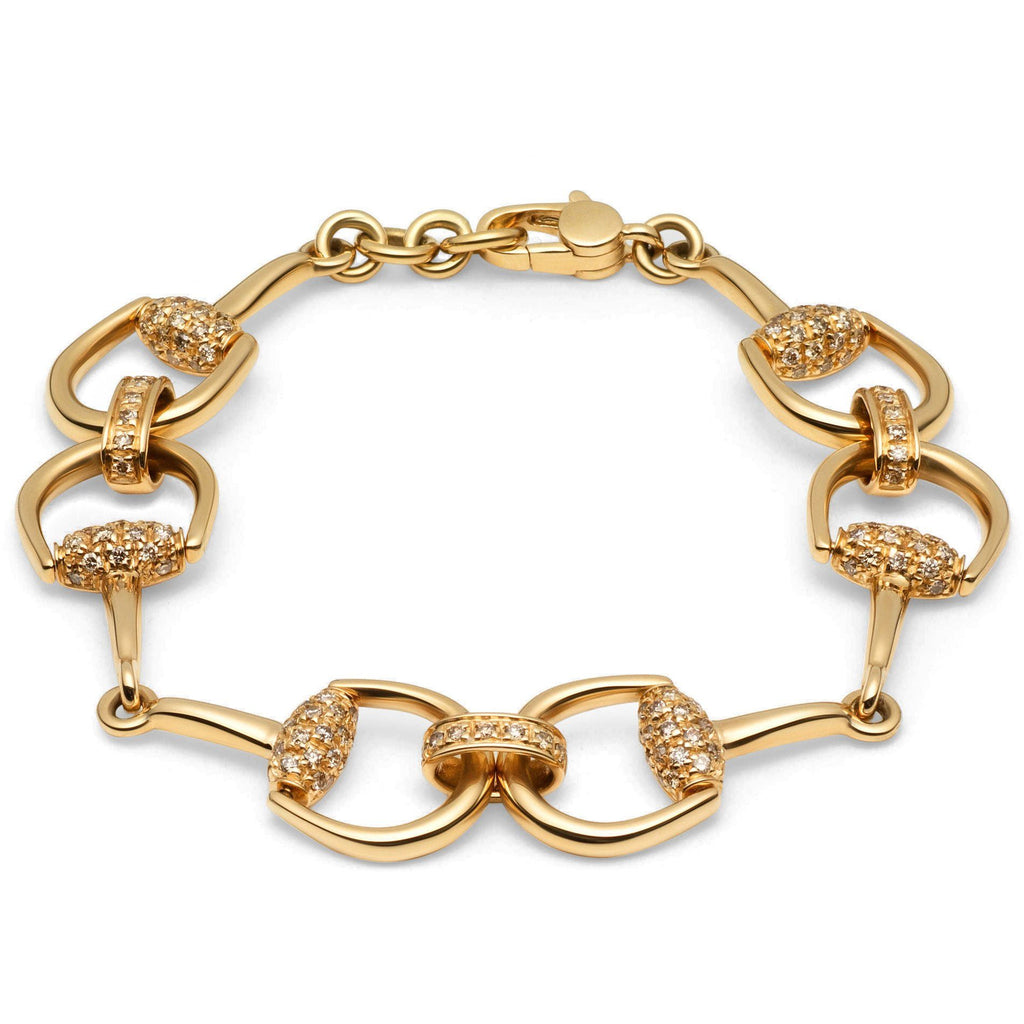 Gucci 18K Gold and Diamond Horsebit Link Bracelet Bracelets Gucci
