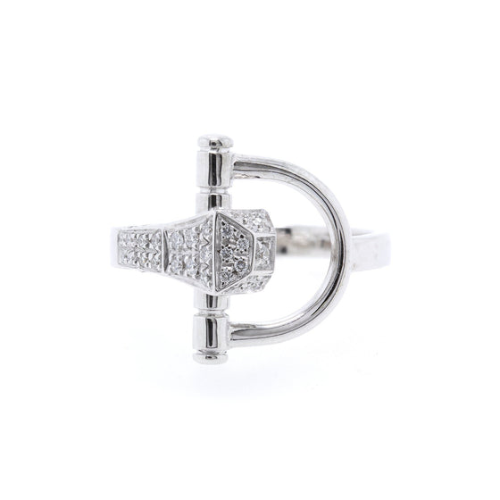 Gucci 18k White Gold Horsebit Cocktail Ring Rings Gucci