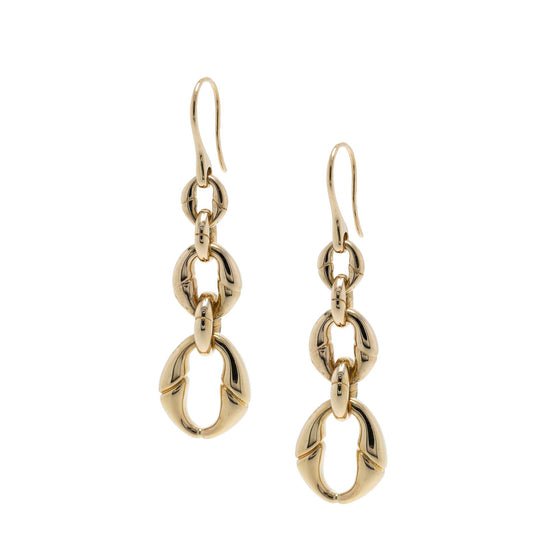 Gucci 18k Yellow Gold Bamboo Link Drop Earrings Earrings Gucci