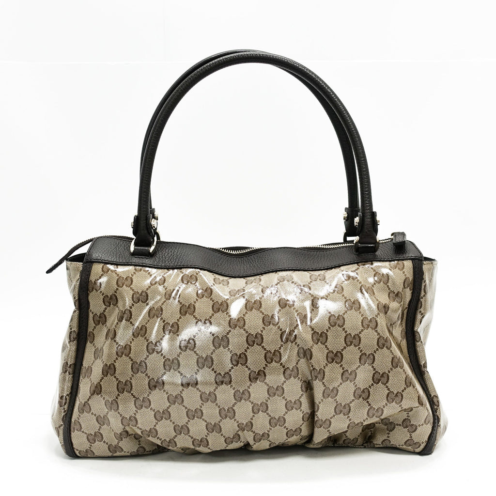 Gucci Abbey Gg Pattern Crystal Shoulder Satchel - Bags