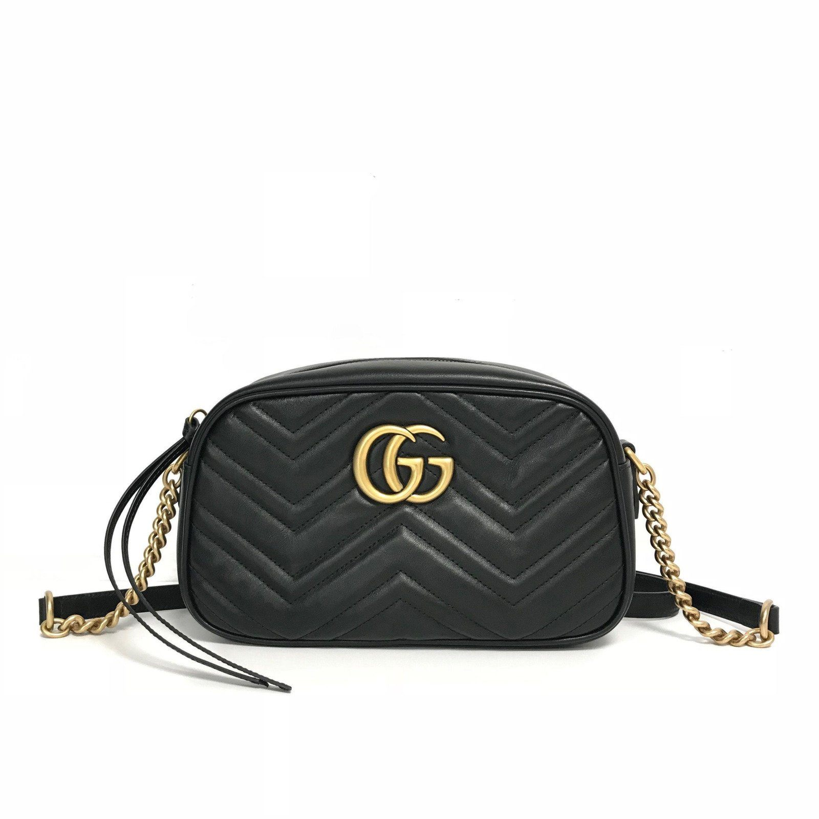 db128fe3dfadc Gucci Black GG Marmont Small Matelasse Shoulder Bag - Oliver Jewellery