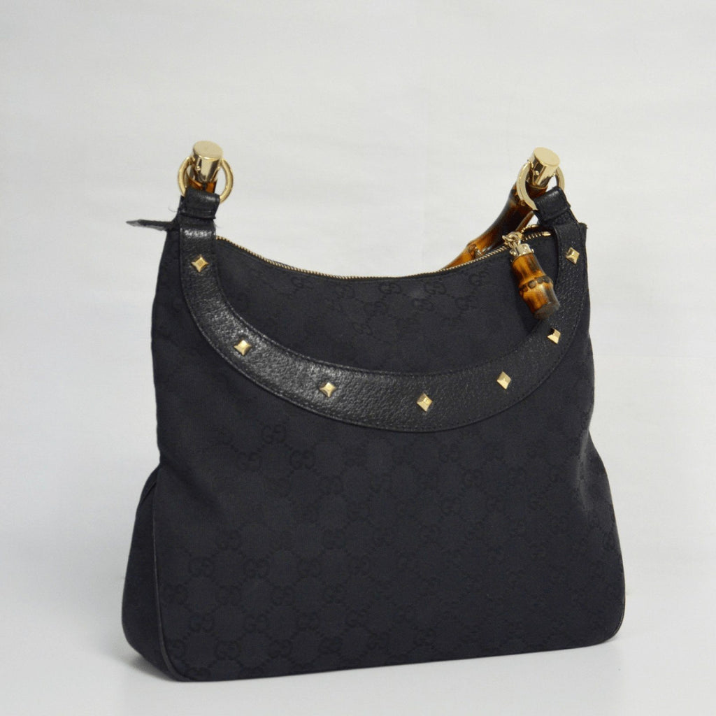 Gucci Black Monogram Anita Bamboo Top Handle Bag - Bags