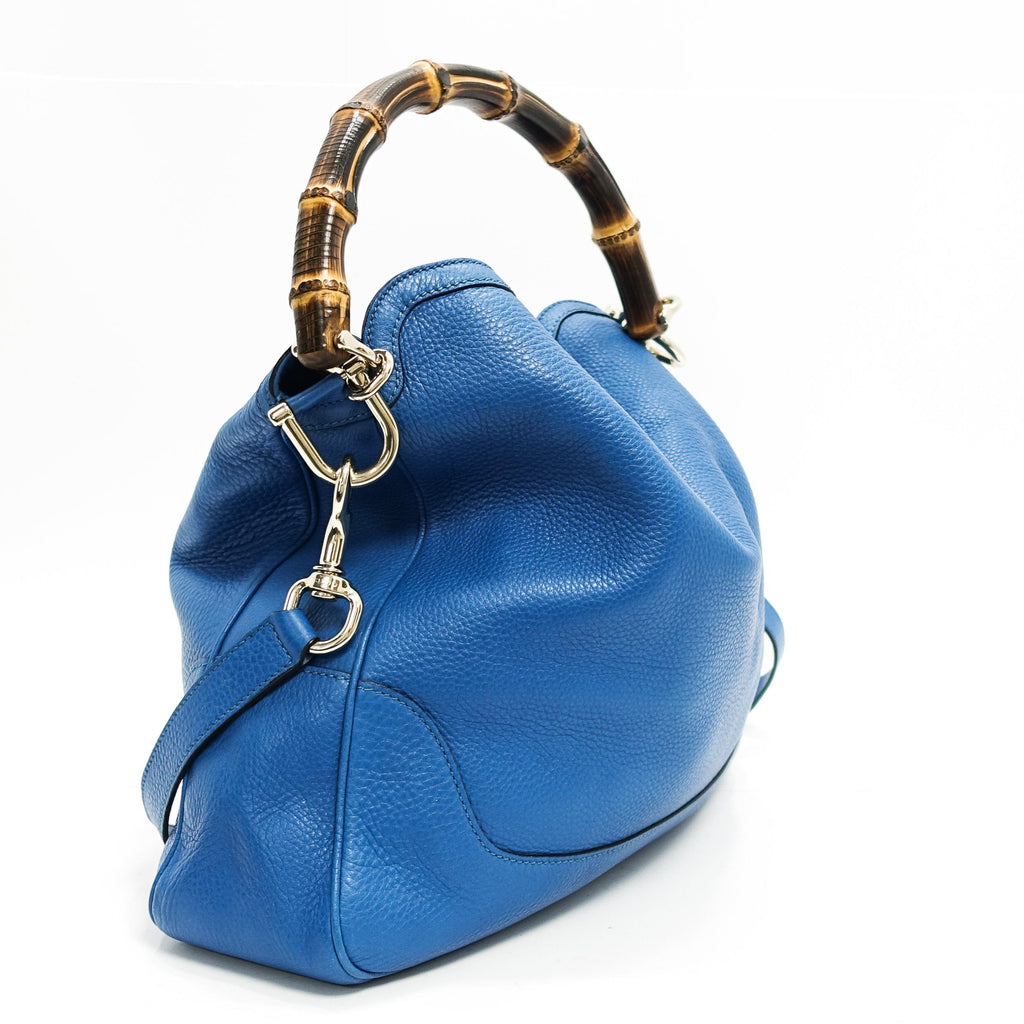 Gucci Blue Diana Bamboo Handle Bag - Bags