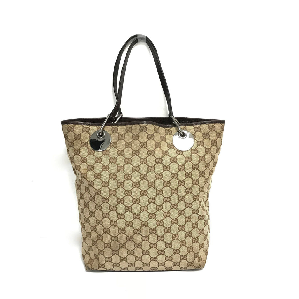 Gucci Canvas Brown Tote Bag - Bags
