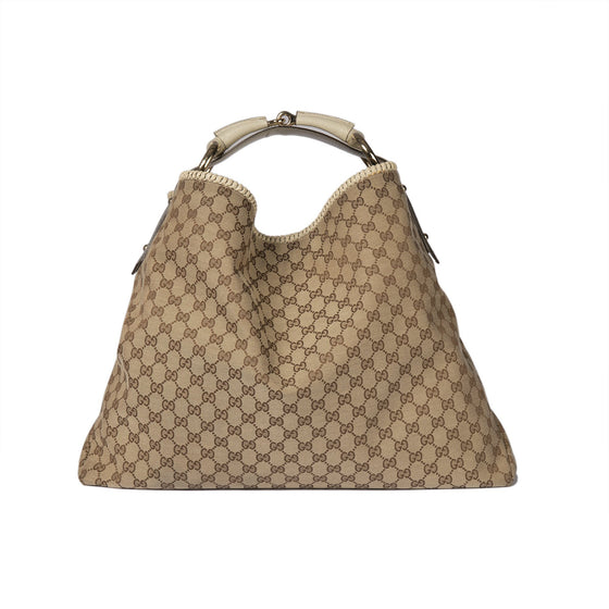 Gucci Large GG Canvas Horsebit Hobo Bags Gucci