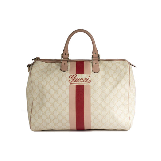 Gucci Script Web GG Canvas Boston Bag Bags Gucci