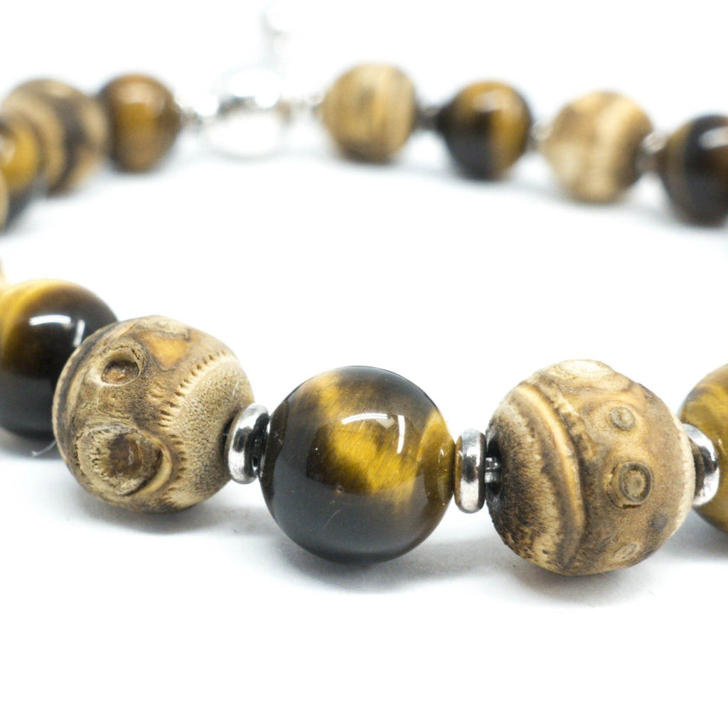 Gucci Tigers Eye And Bamboo Bead Bracelet - Bracelets