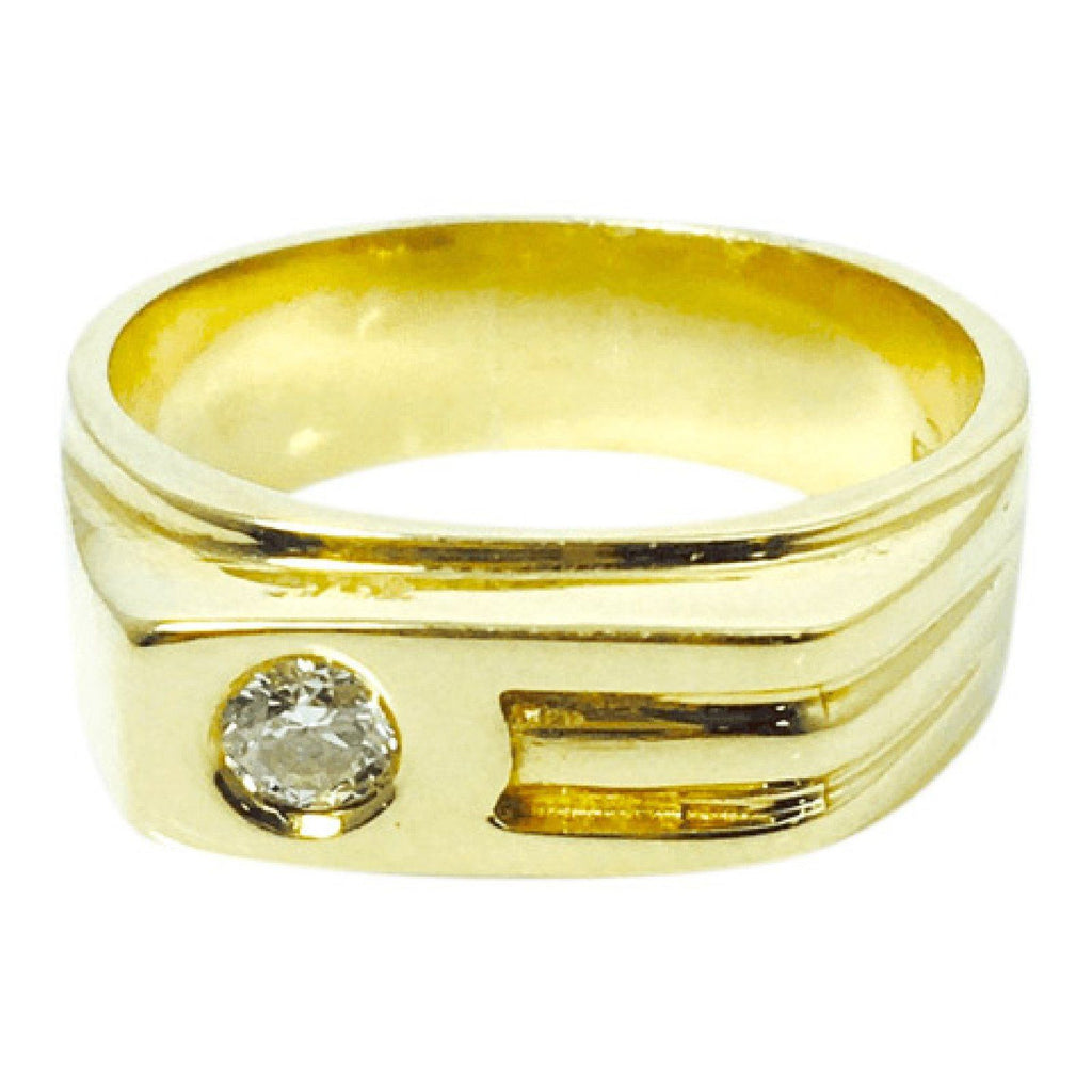 Hand Assembled Diamond Solitaire Ring In 14Kt Yellow Gold - Mens Jewellery