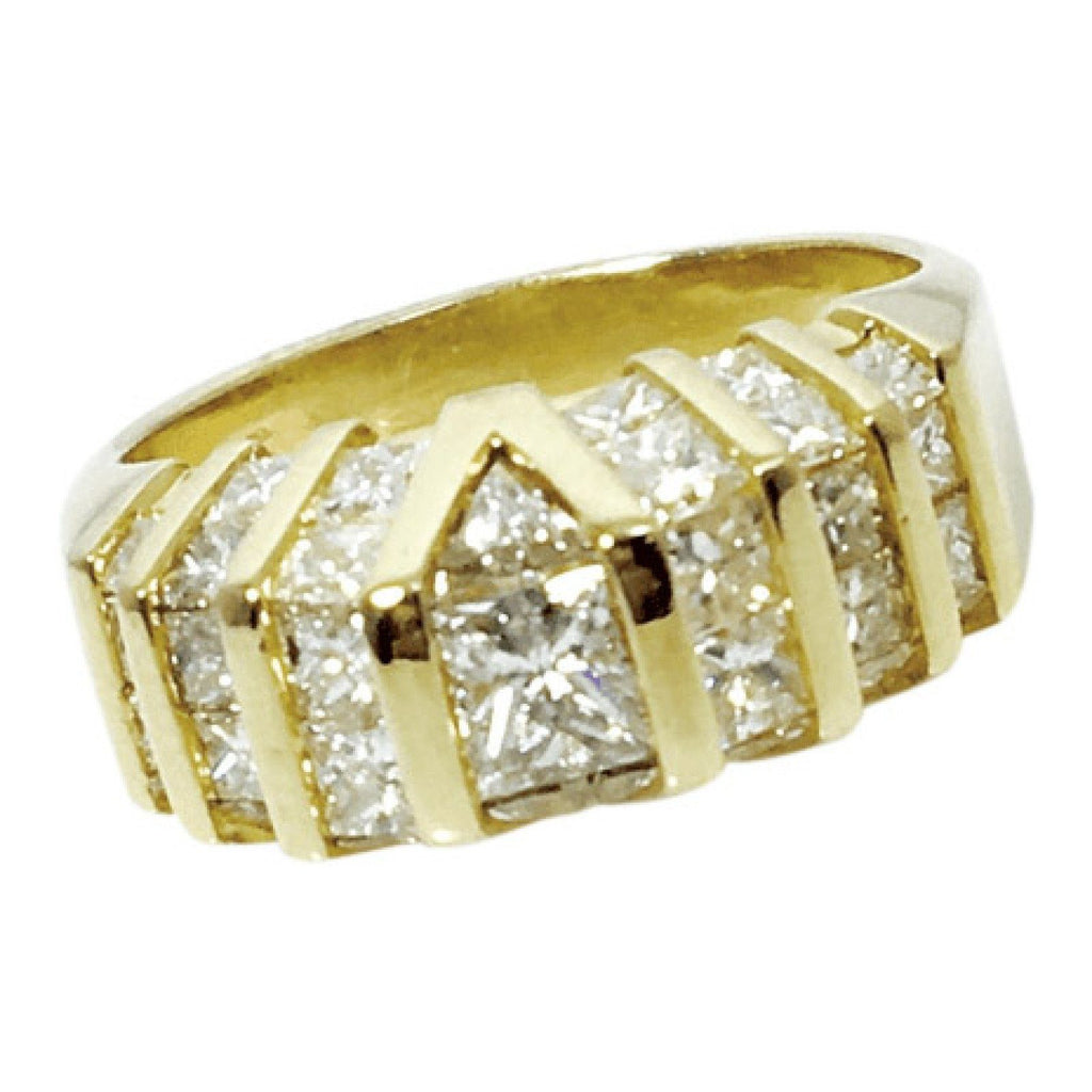 Hand Assembled Double Row Diamond Band in 14kt Yellow Gold Rings Miscellaneous
