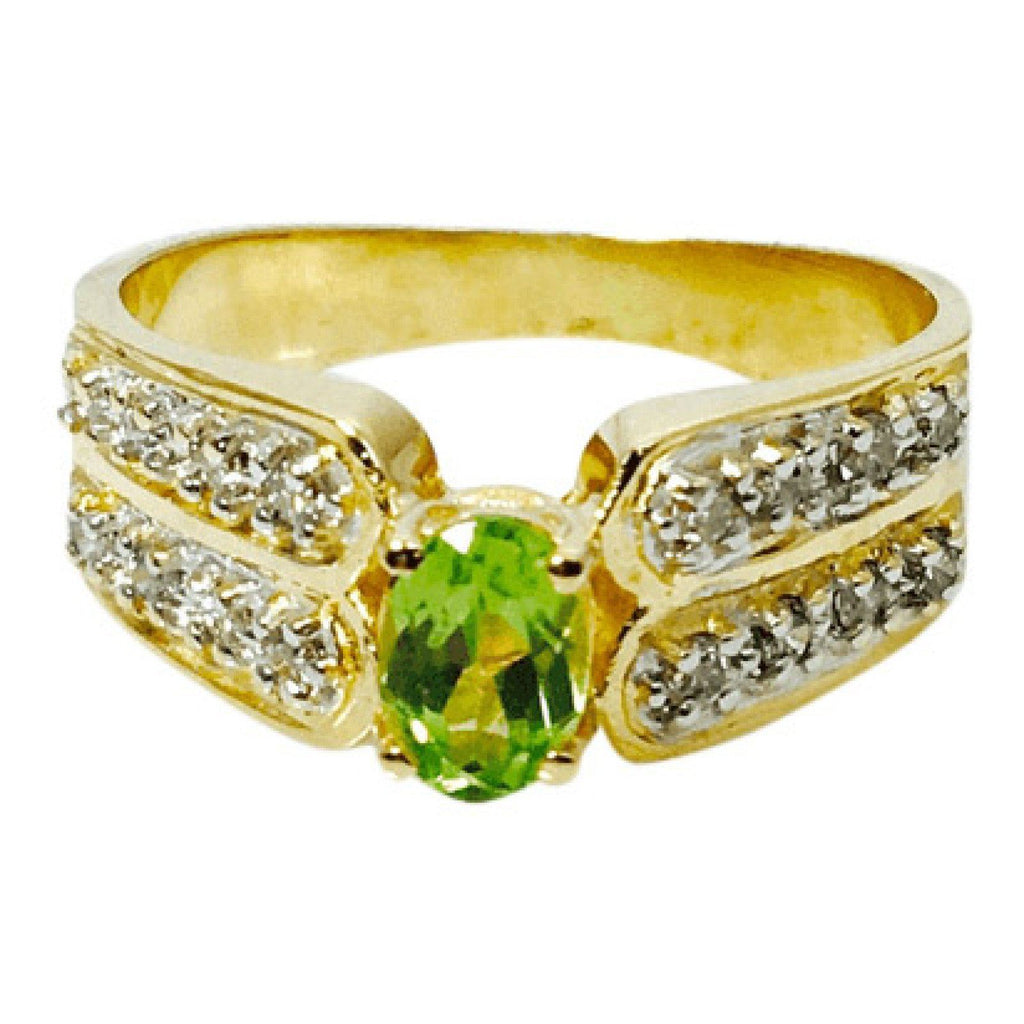 Hand Assembled Peridot and Diamond Cocktail Ring in 14kt Yellow Gold Rings Miscellaneous