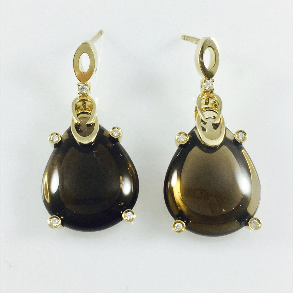 Hand Assembled Smoky Quartz & Diamond Earrings in 18kt Yellow Gold Earrings Miscellaneous