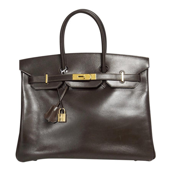 Hermes Brown Box Leather Birkin 35 Bags Hermes