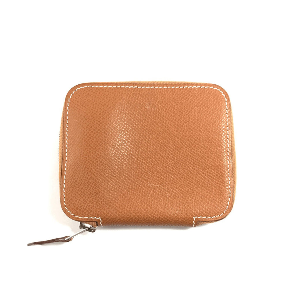 Hermes Brown Zip Around Card Holder Wallets Hermes