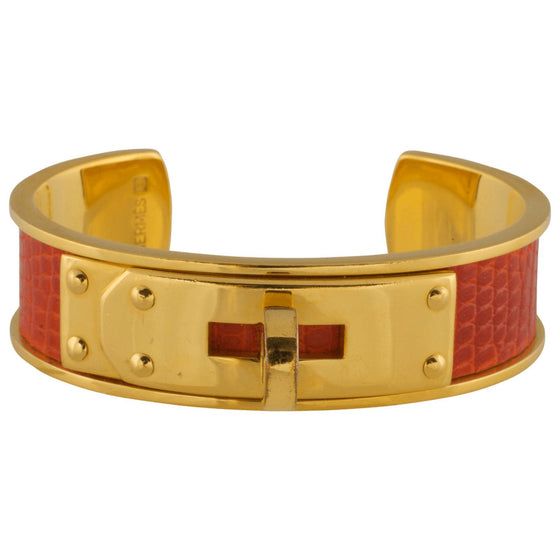 Hermes Red Lizzard Skin Kelly Cuff - Bracelets