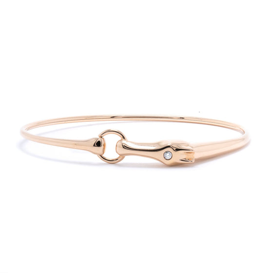 Hermes Rose Gold & Diamond Galop Bangle Bracelet Bracelets Hermes