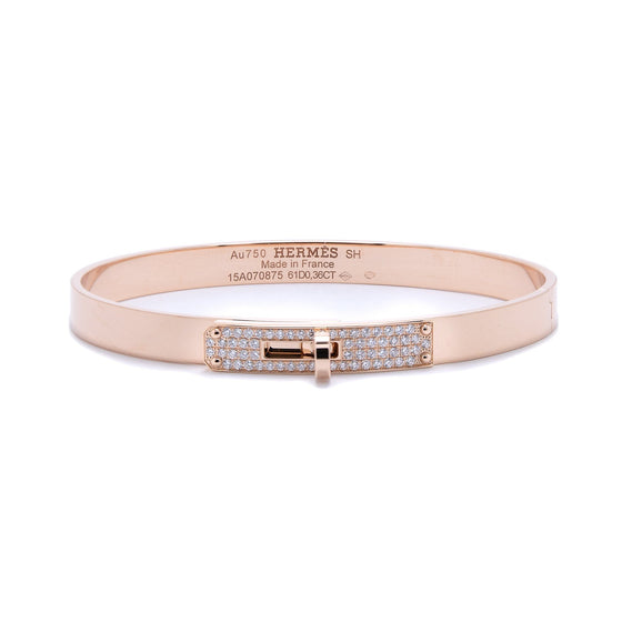 Hermes Rose Gold & Diamond Kelly Bracelet, Small Model Bracelets Hermes