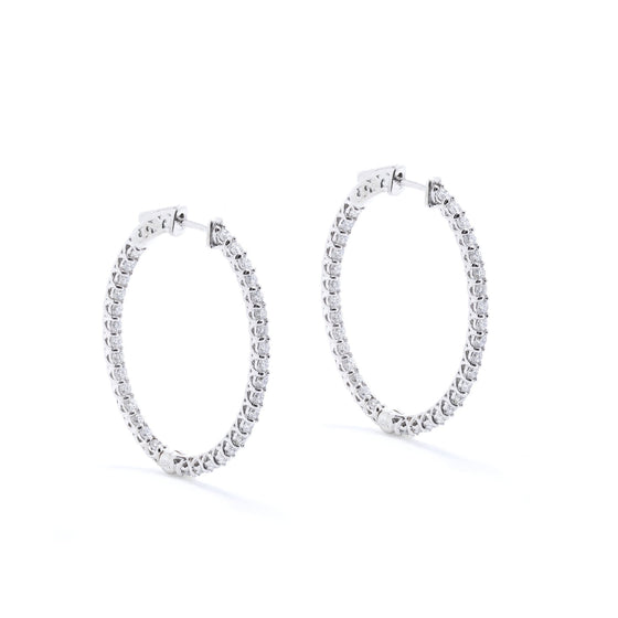 Inside Outside Diamond Hoop Earrings Earrings Miscellaneous