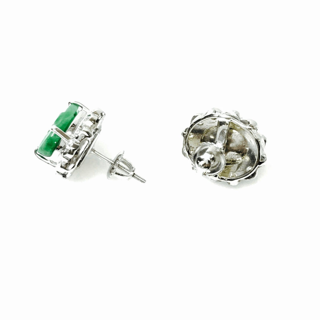 Jade And Diamond Earrings - Earrings