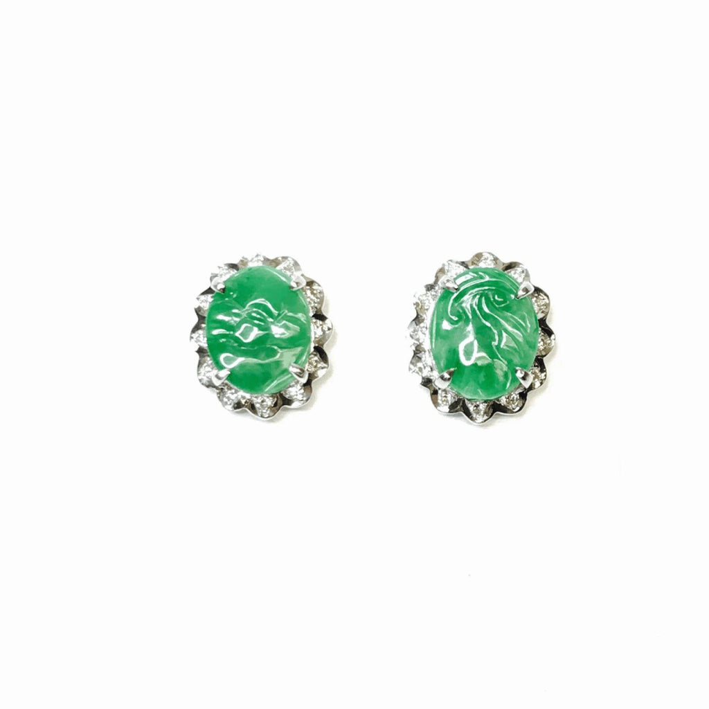 Jade and Diamond Earrings Earrings Miscellaneous
