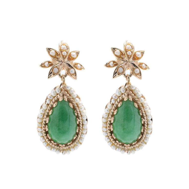 Jade & Seed Pearl Earrings Earrings Miscellaneous