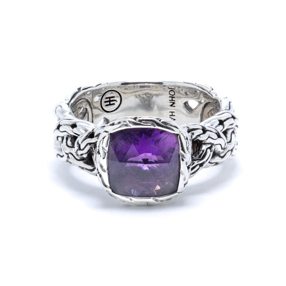 John Hardy Batu Classic Chain Braided Ring with Amethyst Rings John Hardy
