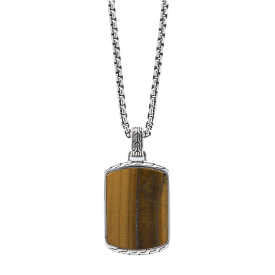 John Hardy Batu Classic Dog Tag Pendant Necklace with Tiger Eye Men's Jewellery John Hardy