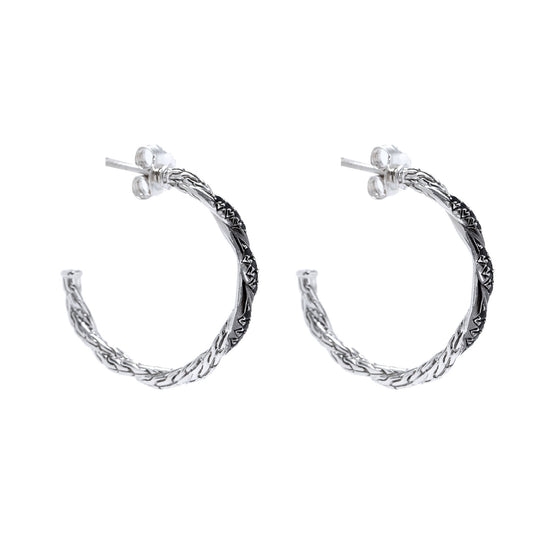 John Hardy Classic Chain Hoop Earrings with Black Sapphires Earrings John Hardy