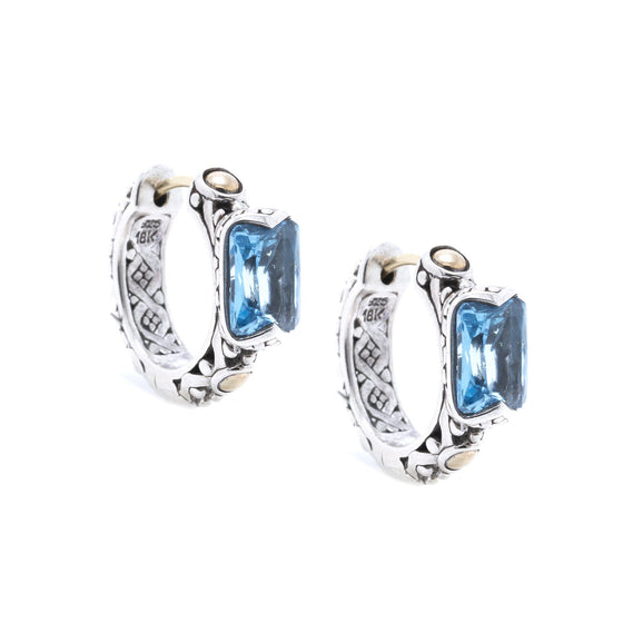 John Hardy Two-Tone Jaisalmer Hoop Earrings with Blue Topaz Earrings John Hardy