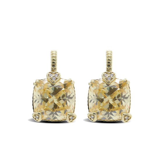 Judith Ripka 18k Gold Canary Crystal & Diamond Lola Earrings Earrings Judith Ripka