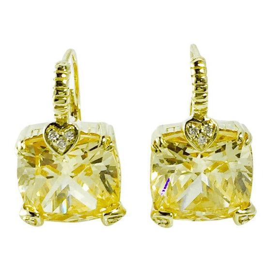 Judith Ripka Lola Canary Crystal and Diamond Earrings Earrings Judith Ripka