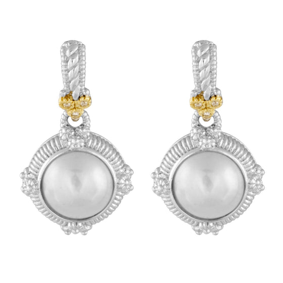 Judith Ripka Mabe Pearl and Diamond Dangle Earings Earrings Judith Ripka
