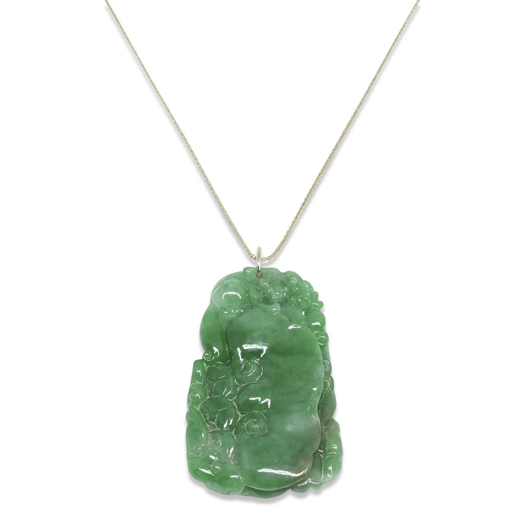 Carved Cut Jade Pendant Necklace - Necklaces