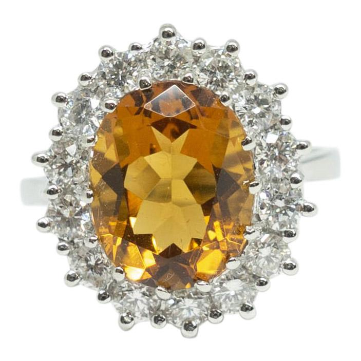 Citrine And Diamond Cocktail Ring - Rings