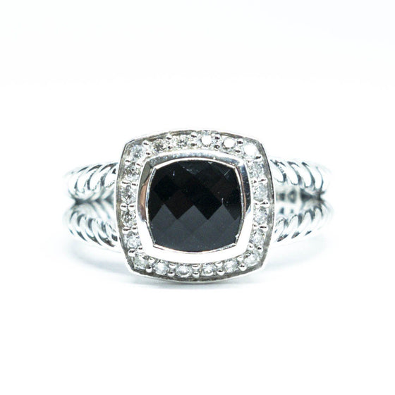David Yurman Petite Albion Ring With Black Onyx And Diamonds - Rings