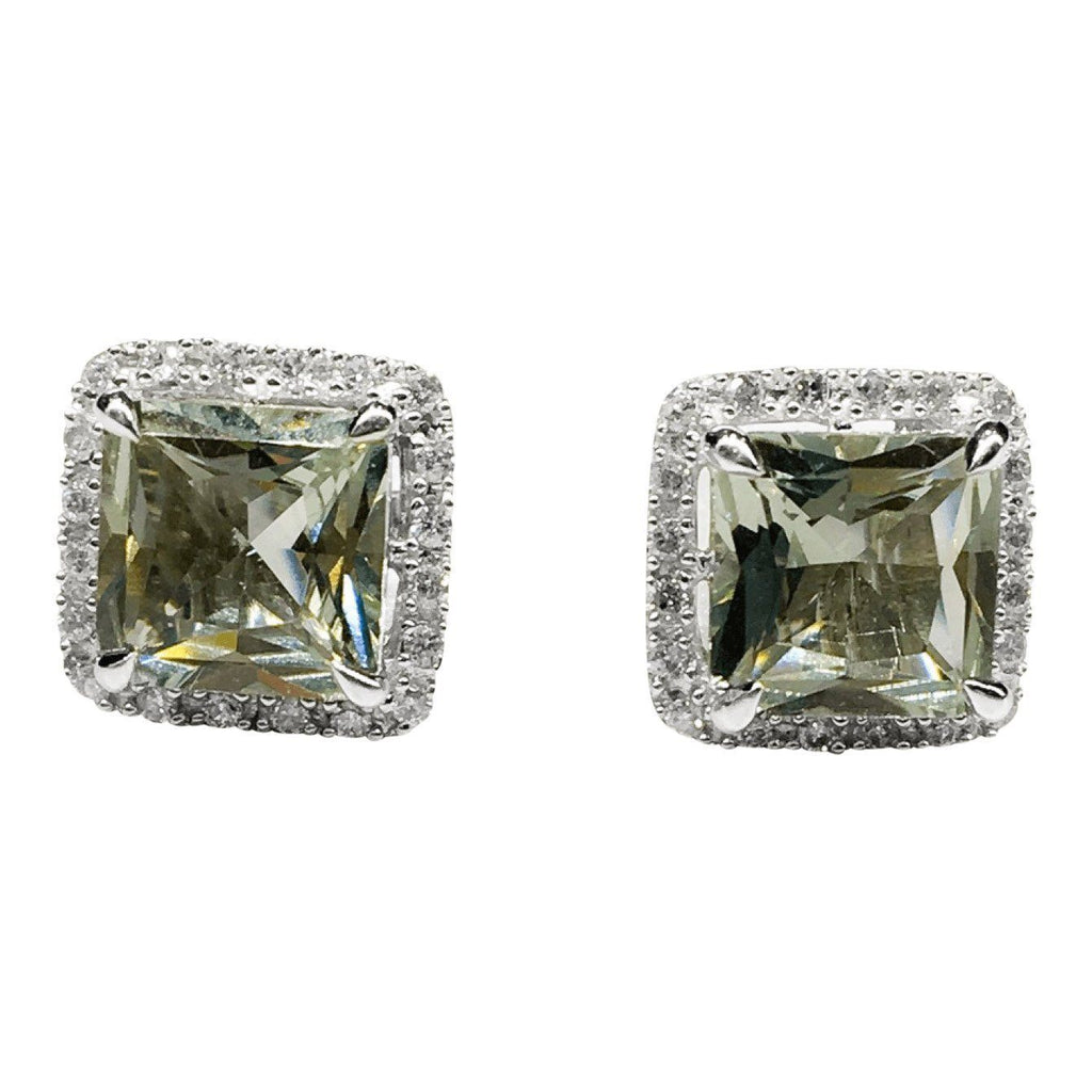 Lime Green Quartz and Diamond Square Earrings Earrings Miscellaneous