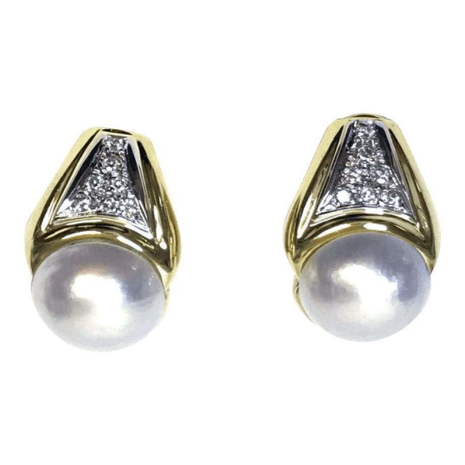 Mabe Pearl and Diamond Clip On Earrings Earrings Miscellaneous