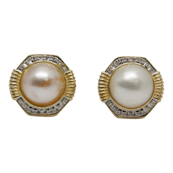 Mabe Pearl and Diamond Earrings Earrings Miscellaneous