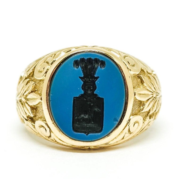 Mens Antique Carved Cut Onyx Ring - Jewellery