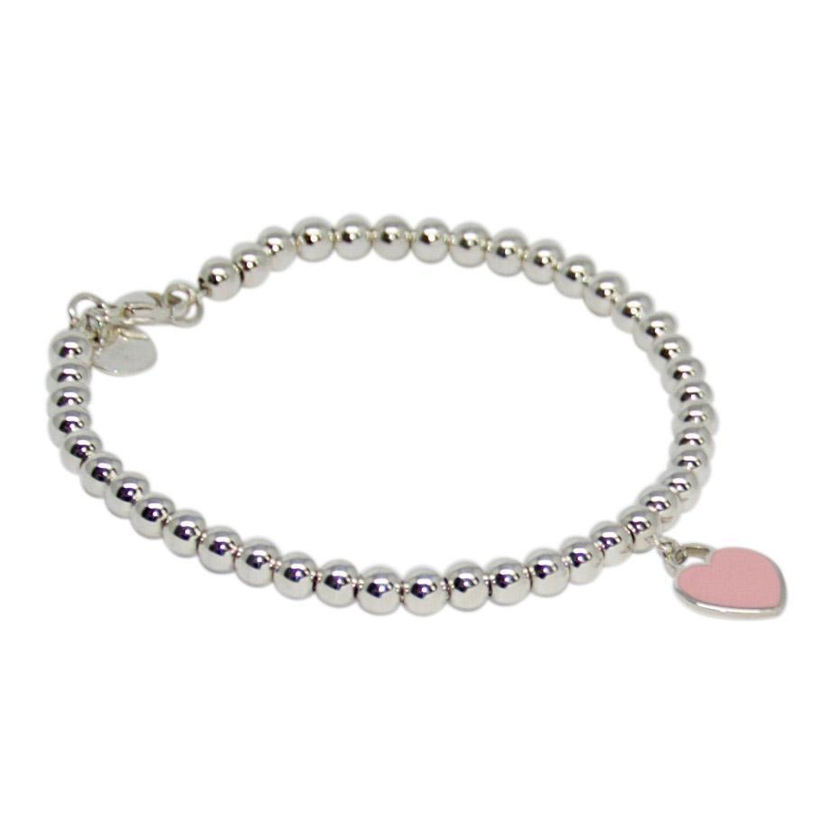 Tiffany & Co. Return to Tiffany Mini Heart Tag Bead Bracelet with Pink Enamel
