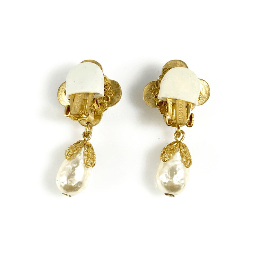 Miriam Haskell Faux Pearl Clip On Earrings Earrings Miriam Haskell