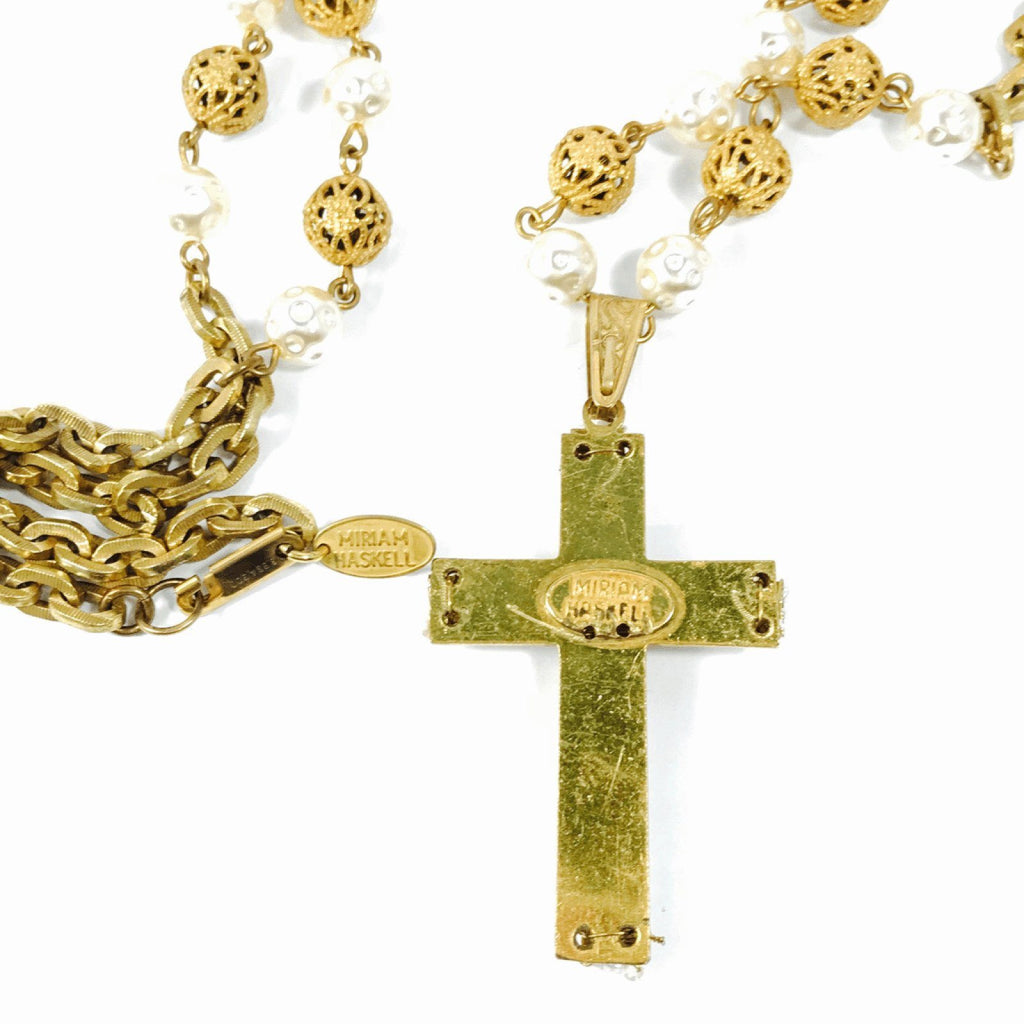 Miriam Haskell Faux Pearl Cross Pendant Necklace - Necklaces