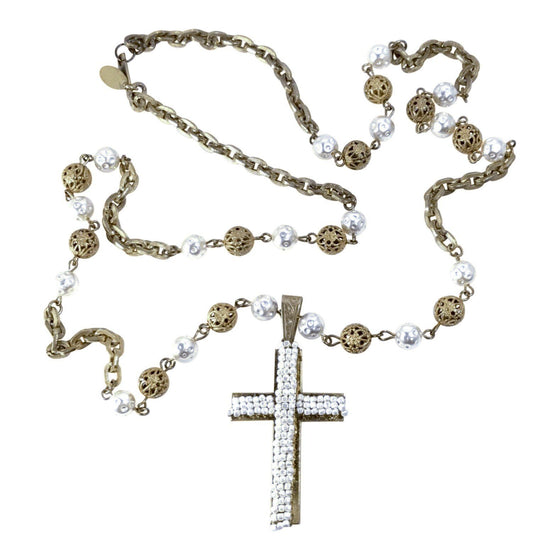 Miriam Haskell Faux Pearl Cross Pendant Necklace Necklaces Miriam Haskell