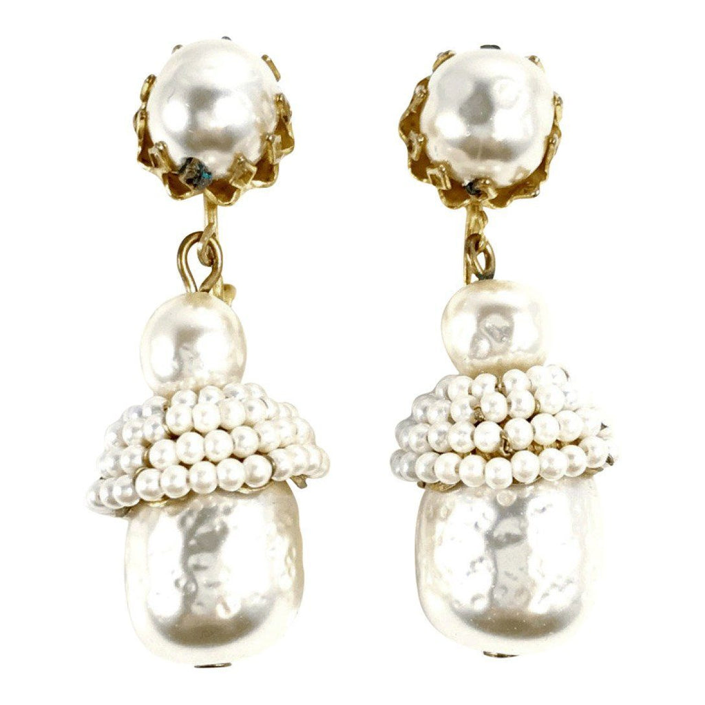 Miriam Haskell Faux Pearl Drop Earrings Earrings Miriam Haskell