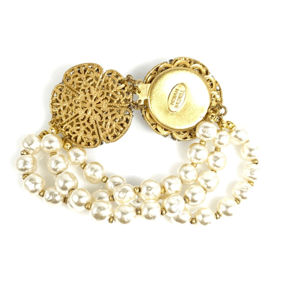 Miriam Haskell Three Row Faux Pearl and Crystal Signature Pansy Bracelet Bracelets Miriam Haskell